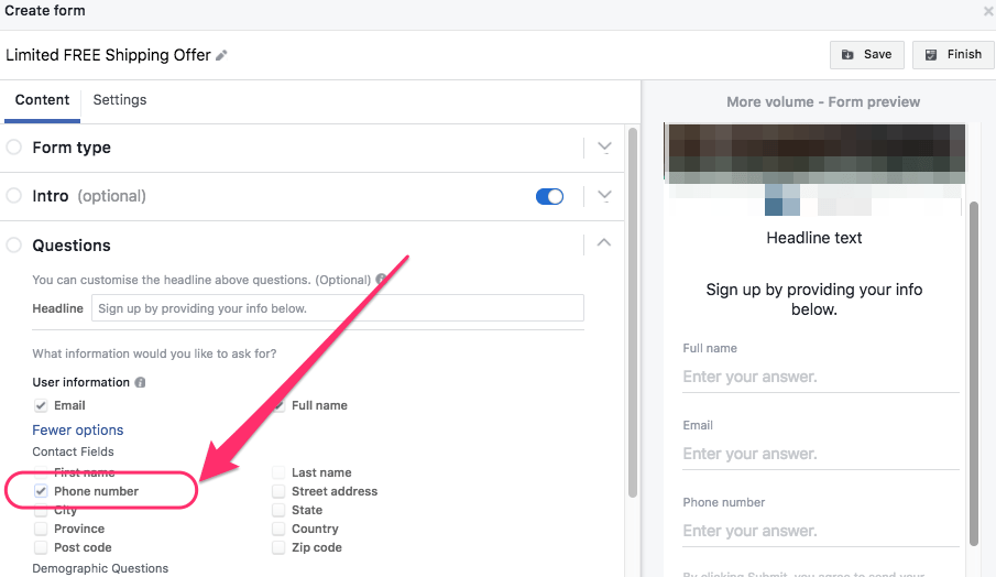 contact number in facebook ad