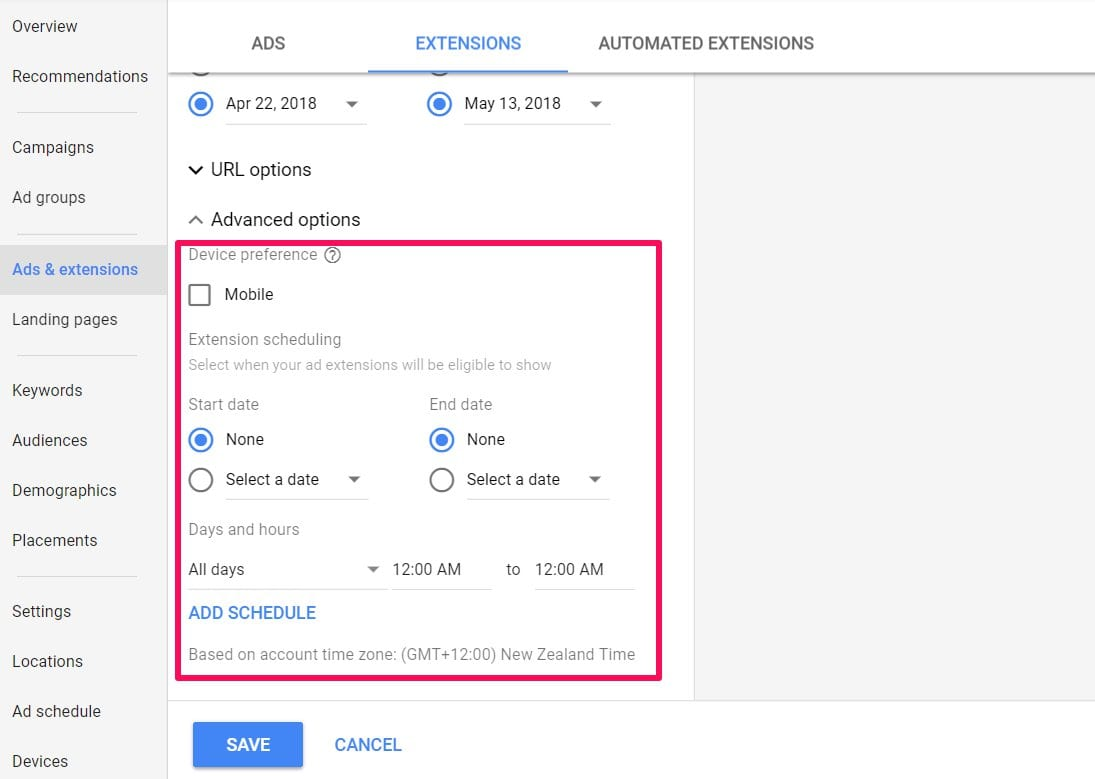 ads extensions advanced options