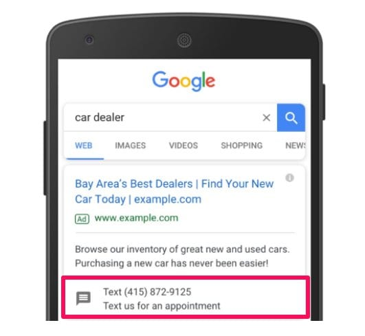 car dealer text us adwrods