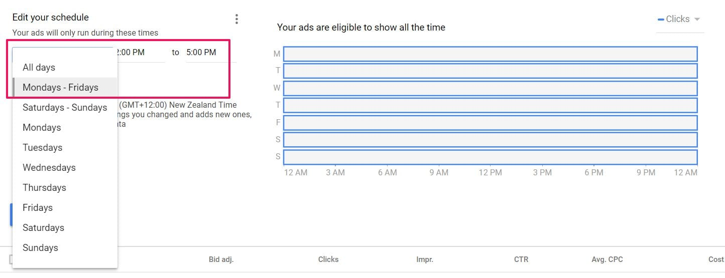 day adjustments in adwords