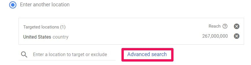 enter another location adwords