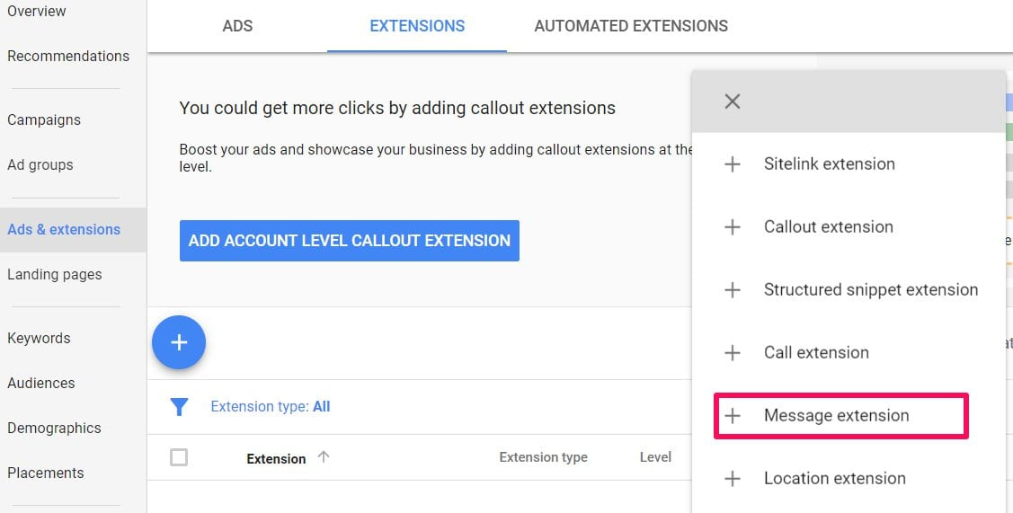 message extension adwords