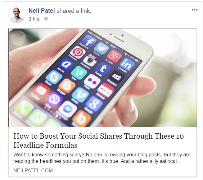 neil patel shared a web link on facebook