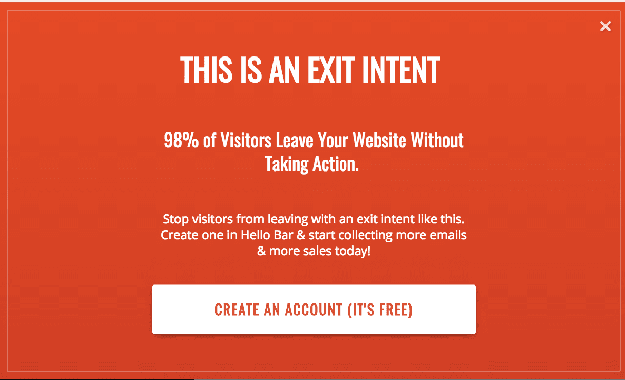 HelloBar Exit Intent Example sales page that convert