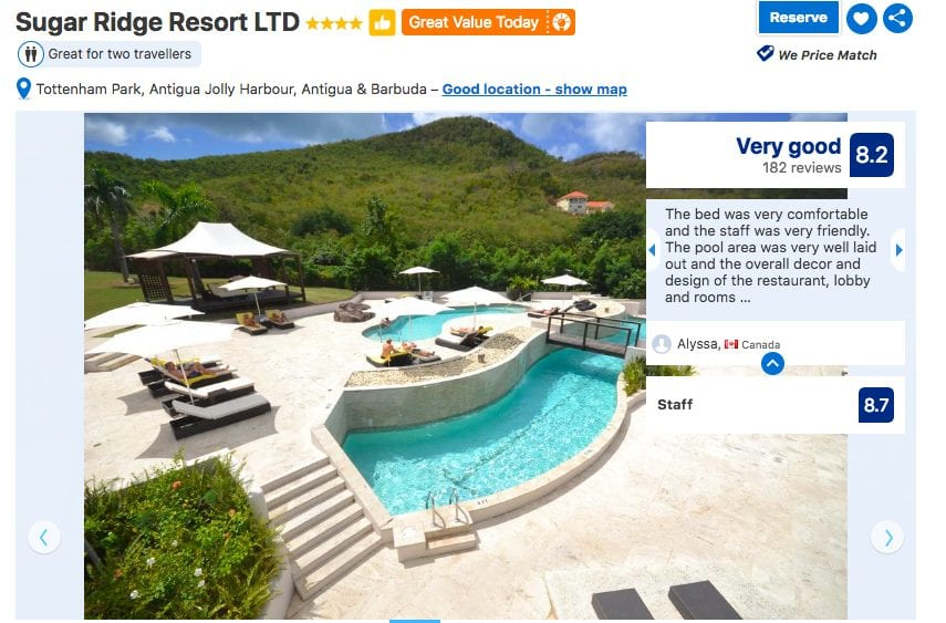 Image of social proof and rating on travel website