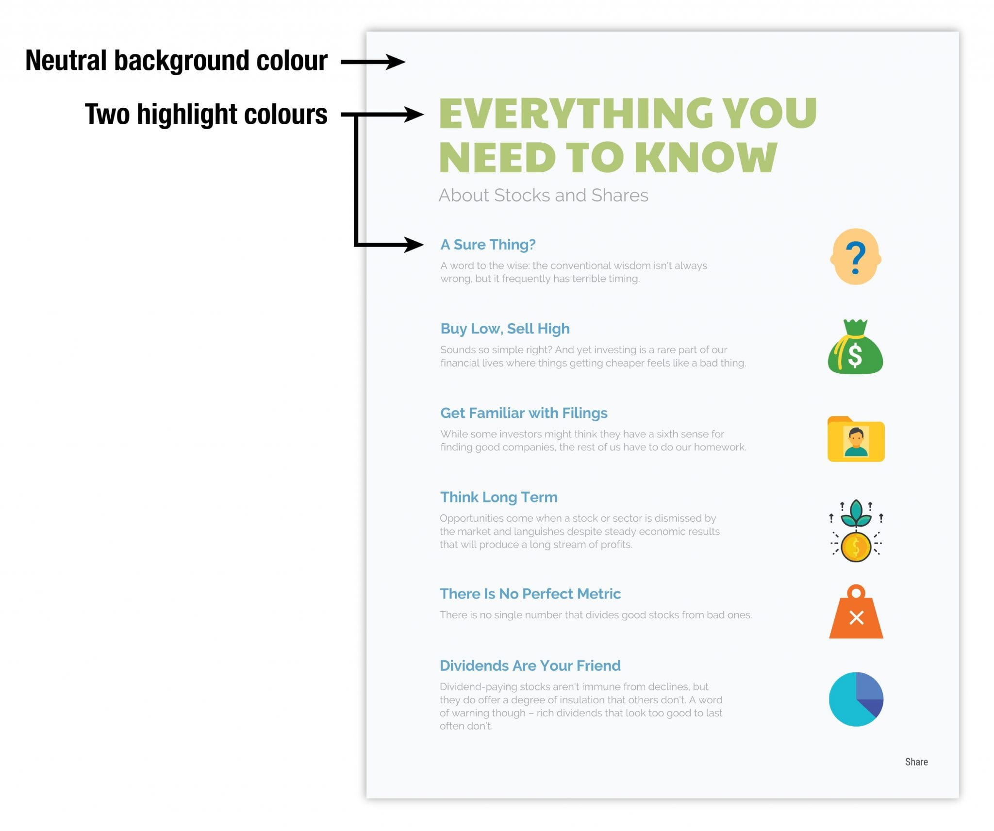 Use a high-contrast colour scheme to draw attention to key messaging
