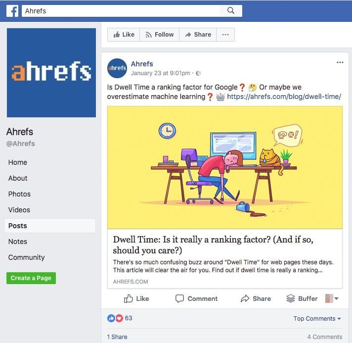 ahrefs software facebook post