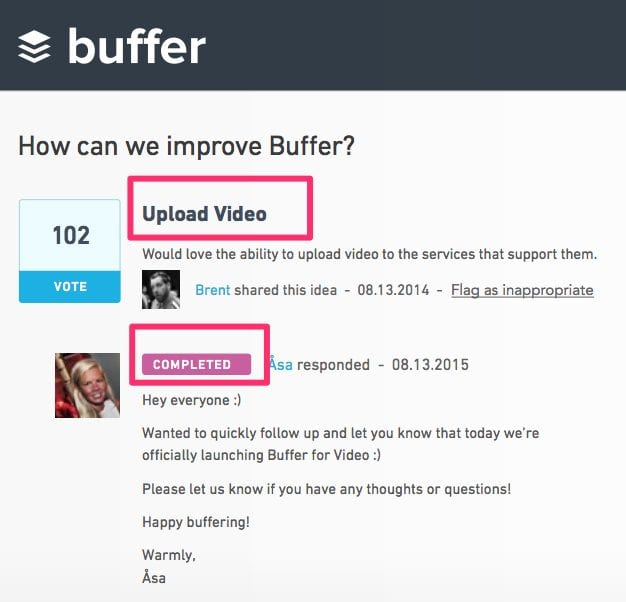 buffer customer feedback on uservoice