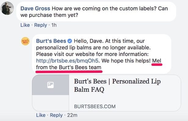 burts bees customer inquiry