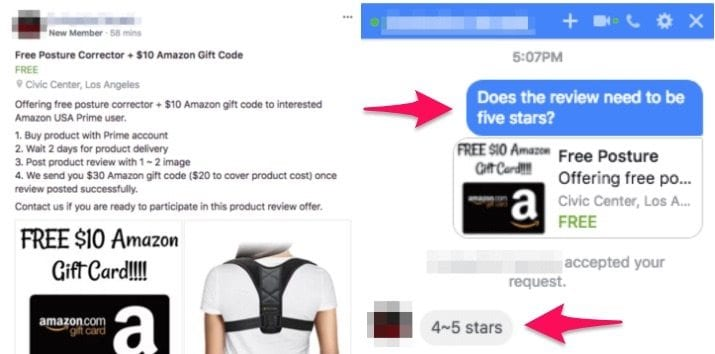facebook group incentives fake reviews
