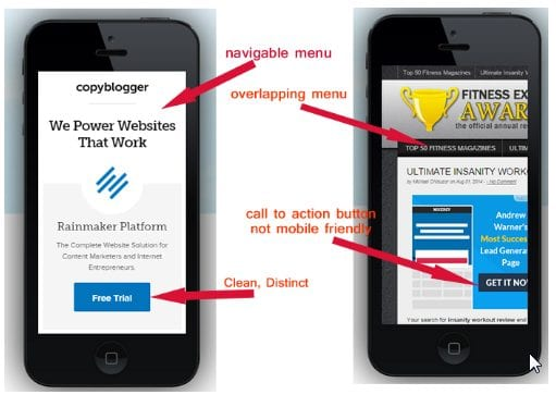 good vs bad mobile web design