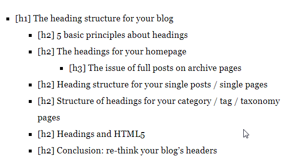 h1 h2 and h3 tags in blog posts