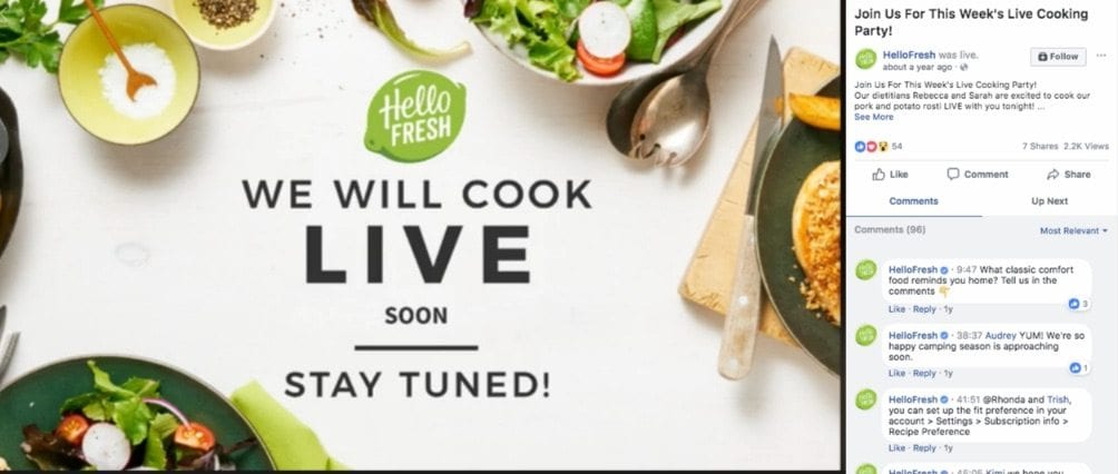hellofresh live cooking show on facebook
