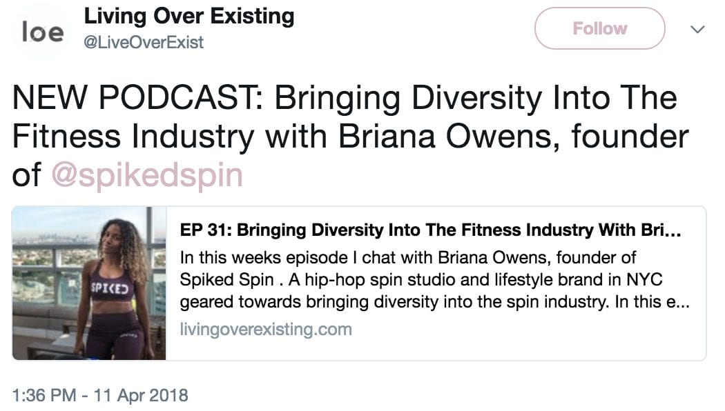 living over existing podcast tweet