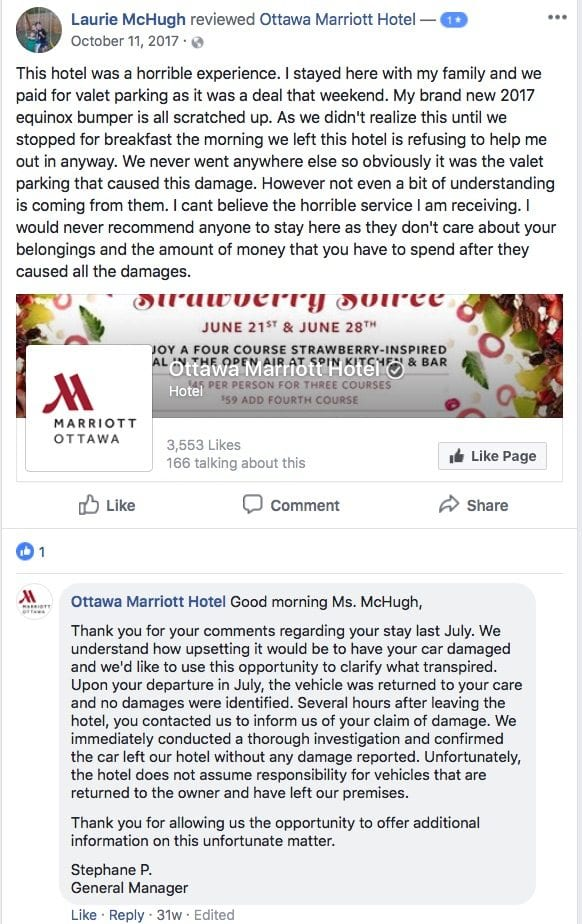 marriott facebook review response