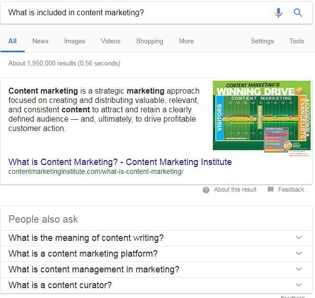 what is included in content marketing google answer