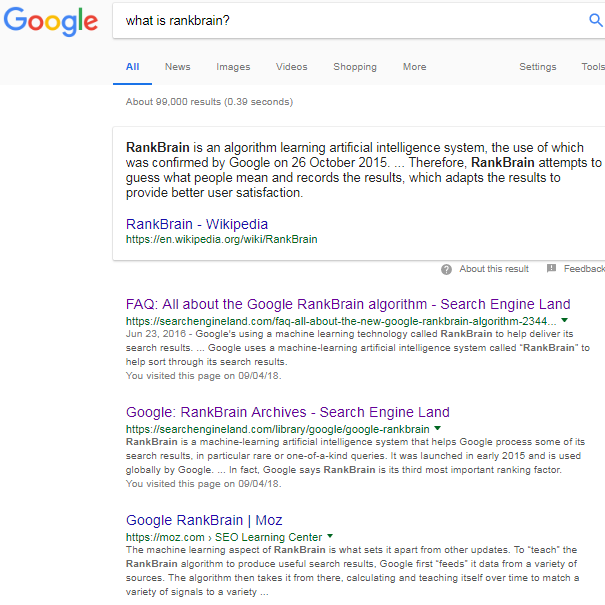 what is rankbrain google search