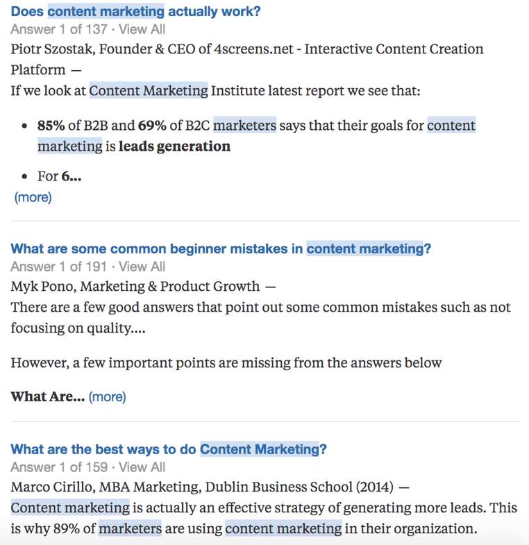 Quora key word research