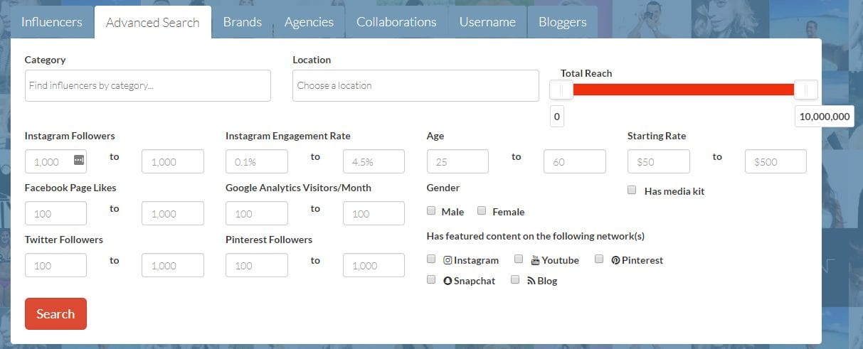 filtering influencers with influence.co