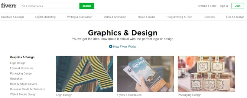 fiverr homepage in 2018