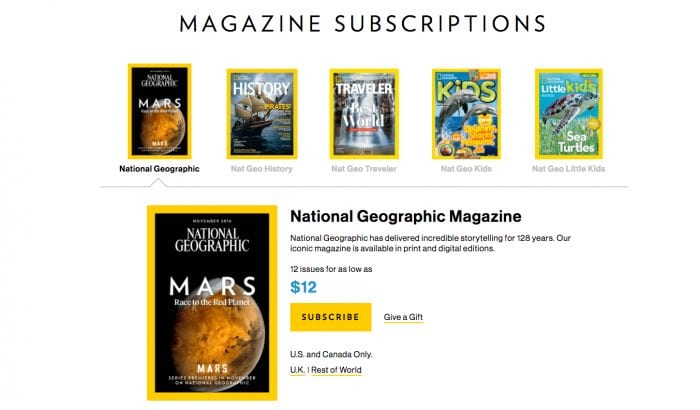 national geographic website landing page